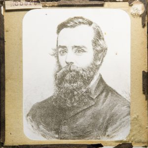 Glass magic lantern slide with a lithograph portrait of the explorer Robert O'Hara Burke