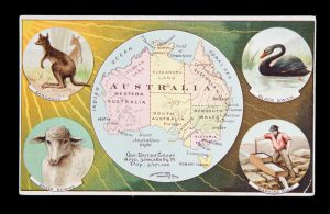 [ADVERTISING] Trade card with map of Australia and illustrative cartouches, 1889