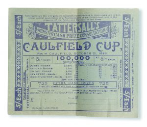 [GAMBLING; HORSE RACING; TASMANIA] Tattersall's 5/- sweepstake ticket for the Caulfield Cup, 1899.