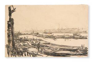 The Thames at PoplarBONE, Muirhead (1876-1953)# 3327