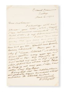 [WILLIAM CAREW HAZLITT] Holograph letter of William Carew Hazlitt to Octavia Susman of Hobart, 1901