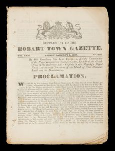 The Hobart Town Gazette (complete run of issues for the year 1837)