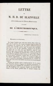 [PLATYPUS] Lettre de M.H.D. de Blainville à M. le rédacteur de l'Echo du Monde savant,BLAINVILLE, H.-M. Ducrotay de (Henri-Marie Ducrotay), 1777-1850# 14751