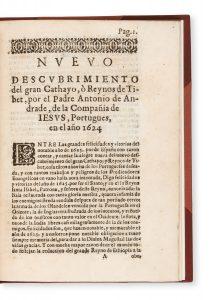 Nvevo descvbrimiento del gran Cathayo, ò Reynos de Tibet, por el Padre Antonio de Andrade,ANDRADE, Antonio de (1580 - 1634)# 14836