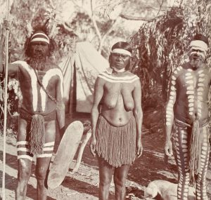 A group of Aborigines in ceremonial decoration, Central Australia, circa 1900