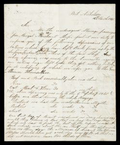 Letter of grievances of passengers of the Bengal Merchant, Port Nicholson, New Zealand, March 1840