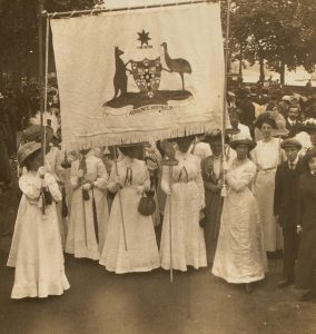 Great suffragette demonstration in London. The Australian section