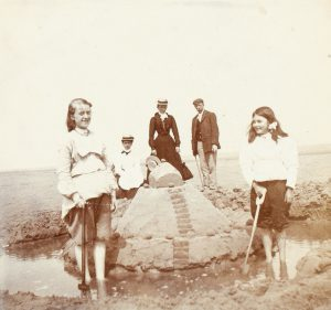 A family at the seaside, Colwyn Bay, Wales, circa 1900
