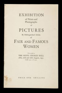 Exhibition of prints and photographs of pictures by distinguished artists of fair and famous women[COBB, Victor; et al]# 14582