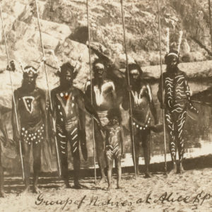 # 15036  Photographer unknown.  Aboriginal men dressed for ceremony, Central Australia, 1900-1910  $250.00