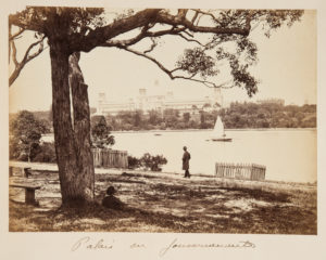 # 15066  Photographer unknown.  View of the Garden Palace and Government House from Mrs. Macquarie's Chair  $200.00