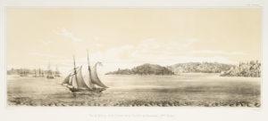 # 15277  MENARD, Romuald George (painter); FRÈRES, Thierry; SABATIER, Léon Jean Baptiste (lithographers)  Vue de Sydney et de l'entree de la Riviere de Paramatta (panorama in two sections)