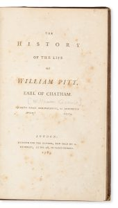 The History of the Life of William Pitt, Earl of Chatham.GODWIN, William (1756-1836)# 13878
