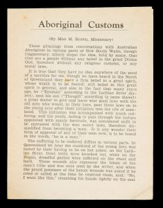 Aboriginal Customs (By Miss M. Brown, Missionary)BROWN, Miss M.; ABORIGINES INLAND MISSION# 14948