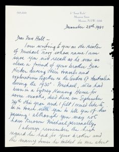 Manuscript letter relating to 1930s Central Australian explorer Michael Terry