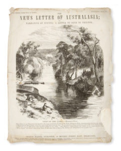# 15236  GROSSE, Frederick, 1828-1894 (illustrator); SLATER, George (publisher)  The News Letter of Australasia; or Narrative of events: a Letter to send to friends. Number XIII. July, 1857.