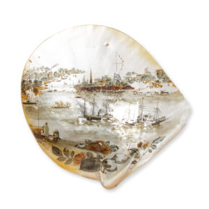 # 15722  Maker unknown.  Painted mother of pearl shell depicting a view of Shamian Island, Canton, showing the trading factories on the Pearl River prior to destruction by fire in 1856