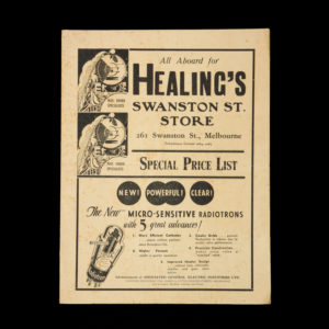 # 15414  HEALINGS PTY LTD.  [TRADE CATALOGUE] All aboard for Healing's Swanston St. Store. 261 Swanston St., Melbourne. Special Price List.