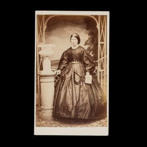 # 15808  BOCK, Alfred (1835-1920)  Photographic portrait of a lady in a fine dress, Hobart Town, circa 1865