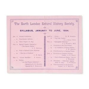 # 15428  NORTH LONDON NATURAL HISTORY SOCIETY  The North London Natural History Society. Syllabus, January to June, 1894.