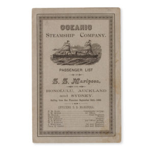 # 15279  OCEANIC STEAMSHIP COMPANY  Oceanic Steamship Company. Passenger list of S.S. Mariposa, for Honolulu, Auckland and Sydney. Sailing from San Francisco September 24th, 1888.