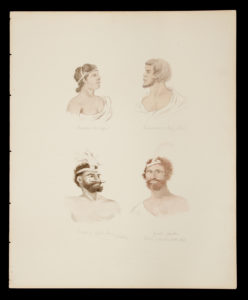 # 15297  Artist unknown [after ANGAS, George French; HAINSSELIN, Henry]  Four early watercolour portraits of Australian Aborigines after lithographs by George French Angas and Henry Hainsselin.