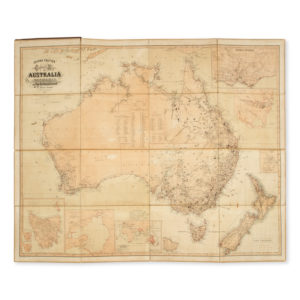 # 15630  RAVENSTEIN, E.  General Map of Australia and Tasmania, or Van Diemen's Land shewing the British Colonies as divided into Counties.