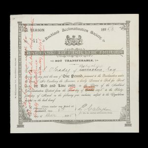 # 15733  AUCKLAND ACCLIMATISATION SOCIETY.  [NEW ZEALAND; ANGLING] Auckland Acclimatisation Society. License to Fish for Trout. Season 1895/6.