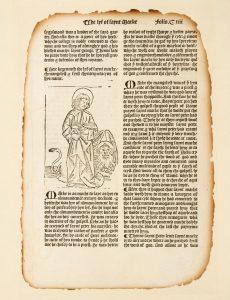 # 15689  DE VORAIGNE, Jacobus, (c. 1229-1298); CAXTON, William (c. 1422 - 1491)  An original leaf from The Golden Legend printed by William Caxton in 1483