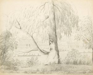 # 15795  FORREST, Charles, Lieutenant (1809-1874)  Pencil drawing depicting a scene on the Yarra, Melbourne, circa 1870