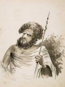 # 15850  LACY, George, 1816-1878, attributed  Portrait of an Aboriginal man holding a spear