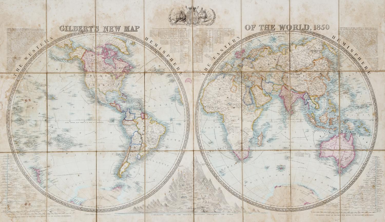 Gilbert S New Map Of The World 1850 Douglas Stewart Fine Books