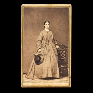 CIVIL WAR Photographic Portrait Of Miss Libbie Grey Painsville Ohio 1863 64 Albumen Print Photograph Carte De Visite
