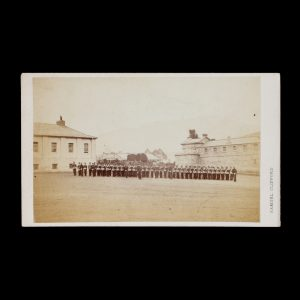 A Volunteer Infantry Unit On Parade At Angelsea Barracks Hobart Town Circa 1867 Albumen Print Photograph Carte De Visite