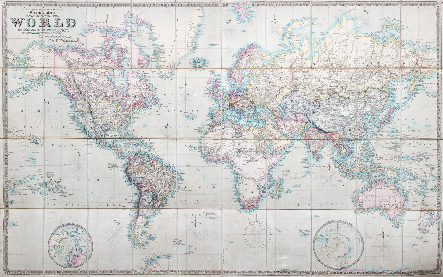 Victoria London Map.To Her Most Gracious Majesty Queen Victoria This Map Of The World On Mercator S Projection Is Most Respectfully Dedicated By Her Devoted Subjects
