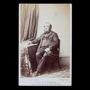 Photographic Portrait Of Colonial Wesleyan Minister Rev D J Draper Lost In The London Jan 11th 1866 Albumen Print Photograph Carte De Visite