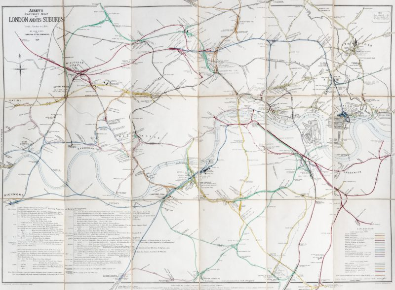 London Map Suburbs.Airey S Railway Map Of London And Its Suburbs 1884